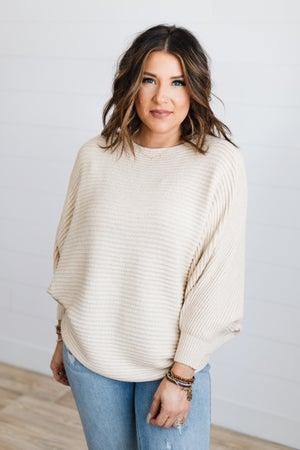 sku18715 | Ribbed Knit Boat Neck Sweater