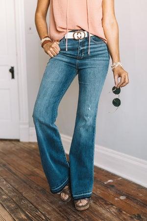 sku18301 | High Rise Raw Hem Flared Jeans
