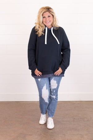 sku15976 | Layered Look Hoodie Sweatshirt