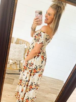 sku21608   Floral Smocked Maxi Dress