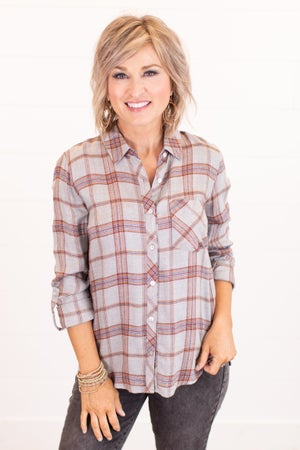 sku16253 | Plaid Button Up Top