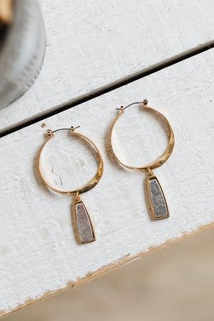 sku18630 | Two Tone Twist Hoop Dangle Earrings