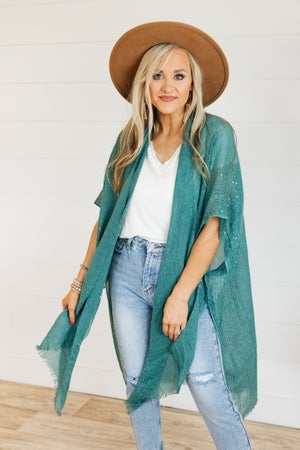 sku21306 | **Daily Deal** Sequined Open Weave Frayed Kimono