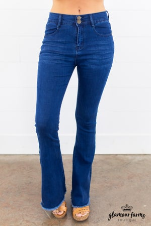 sku15058 | Frayed Hem Bell Bottom Jeans