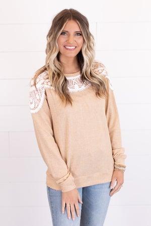 sku14713 | Lace Overlay Sweatshirt