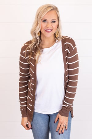 sku14296 | **Daily Deal** Striped Snap Cardigan