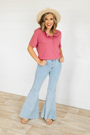 sku21489   Embroidered Frayed Hem Flared Jeans