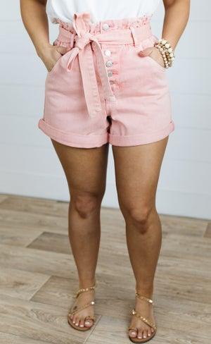 sku20932 | Vervet Ultra High Rise Paper Bag Shorts