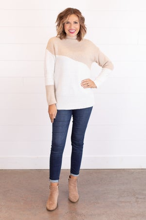 sku17493 | Color Block Mock Neck Sweater
