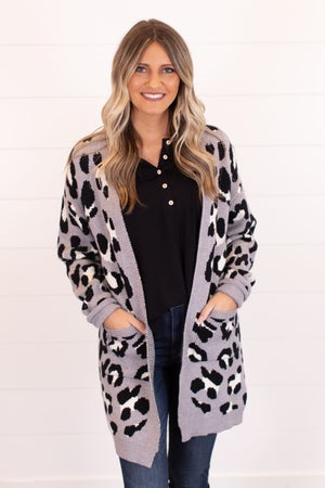 sku16057   Animal Print Sweater Cardigan