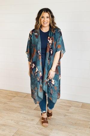 sku21318 | Floral Side Slit Kimono
