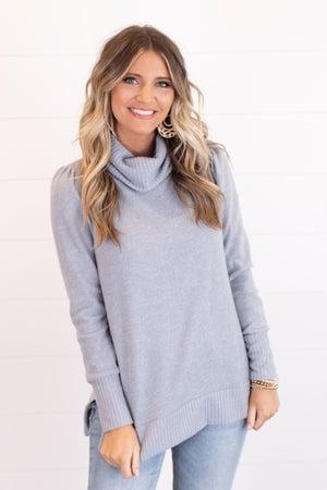 sku17946   Heathered Knit Cowl Neck Sweater