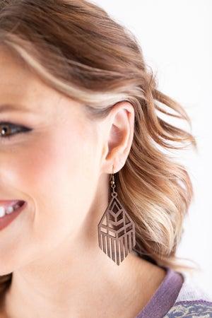 sku18011 | Laser Cut Geometric Wood Earrings