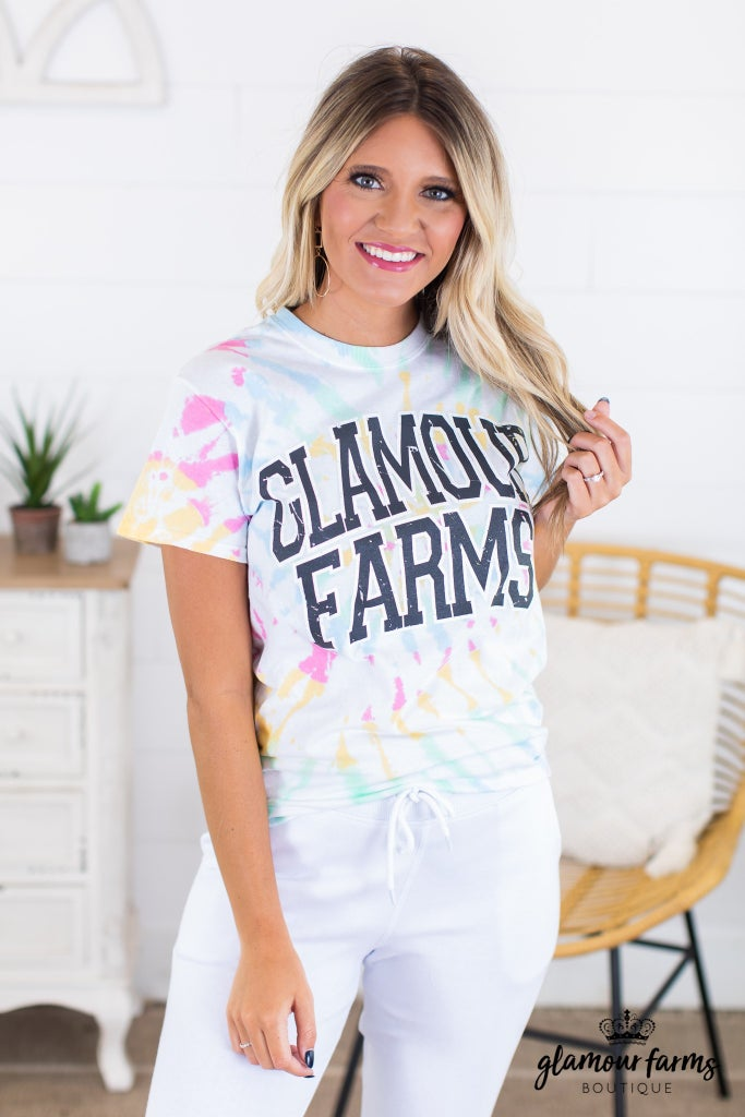 sku14866 | Glamour Farms Tie Dyed Graphic Tee