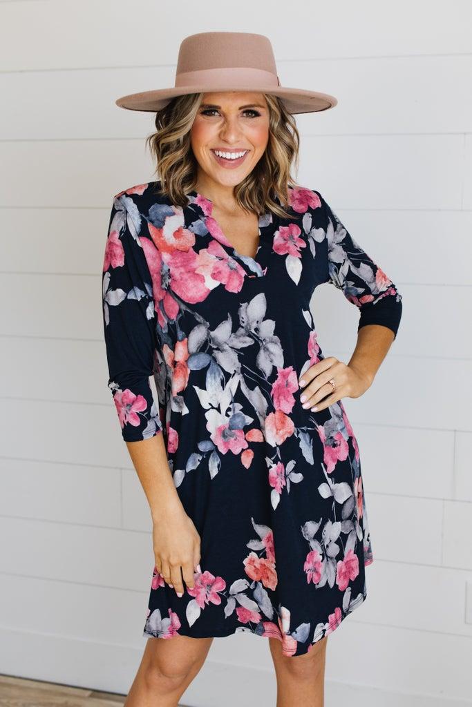 sku18703 | Floral Tab Sleeve Dress