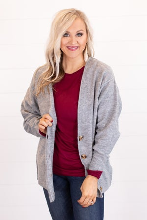 sku16317 | Heathered Knit Sweater Cardigan