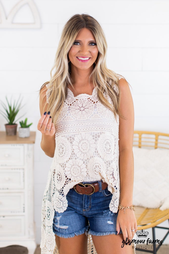 sku14043   Crocheted Hi-Lo Tunic