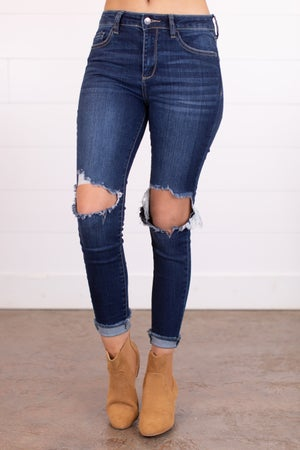 sku12446 | Mid Rise Hole-In-The-Knee Skinny Jean