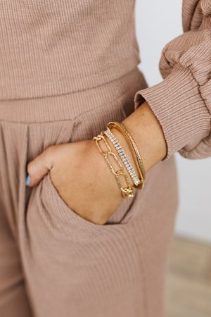 sku19038   Baquette Crystal & Chain Layered Bracelet