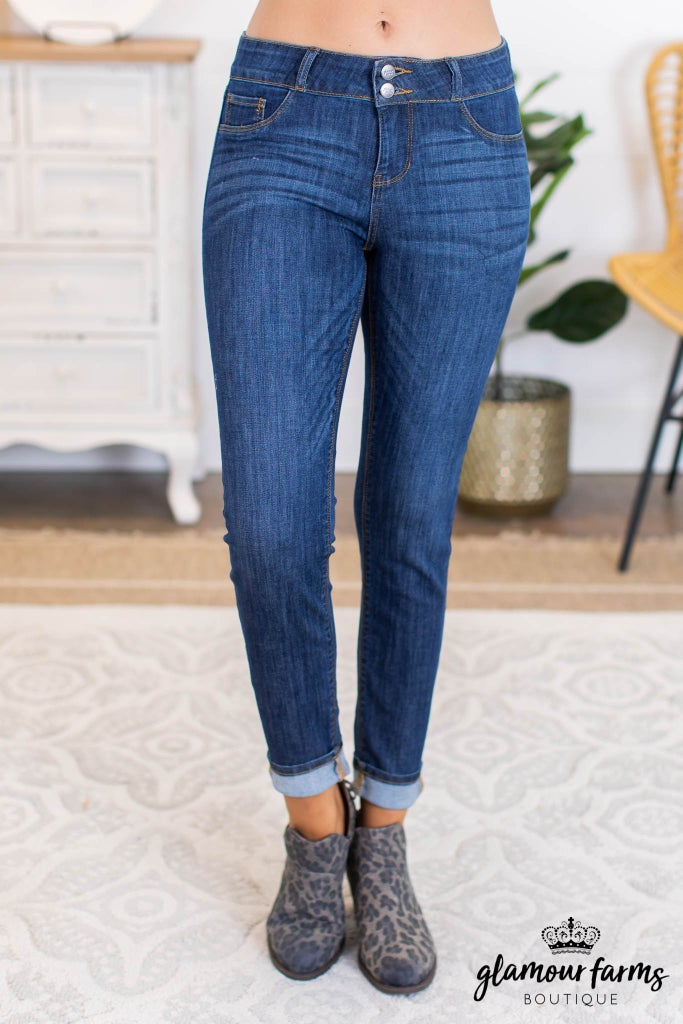 sku10695 | **Daily Deal** Two Button Mid Rise Skinny Jean