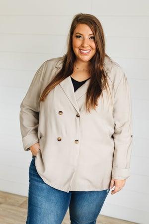 sku20159   Double Breasted Tab Sleeve Jacket