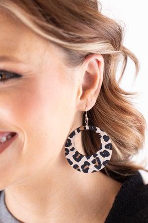 sku18012 | Animal Print Round Wood Earrings