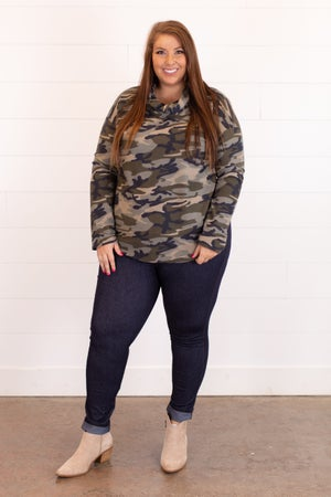 sku16435 | Cowl Neck Camo Top