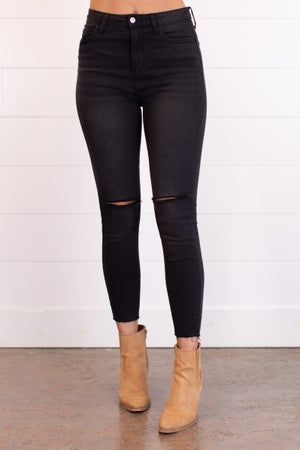sku17916 | High Rise Destroyed Knee Skinny Jean