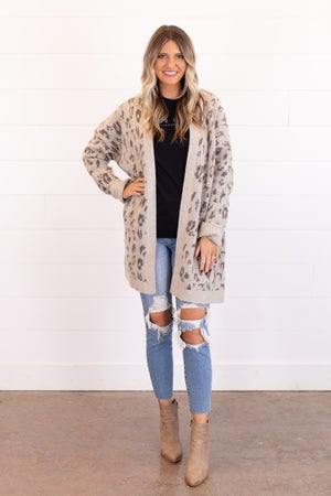 sku16836   Animal Print Sweater Cardigan