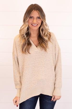 sku17499 | Textured Knit V-Neck Sweater