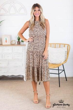 sku14752 | Animal Dot Tiered Midi Dress