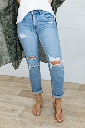 sku20614 | KanCan Distressed High Rise Straight Leg Jeans