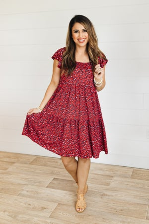 sku21351 | Animal Print Tiered Dress