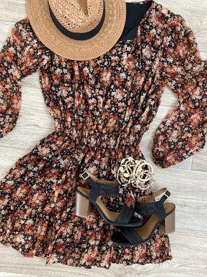 sku21107   Floral Smocked Waist Dress