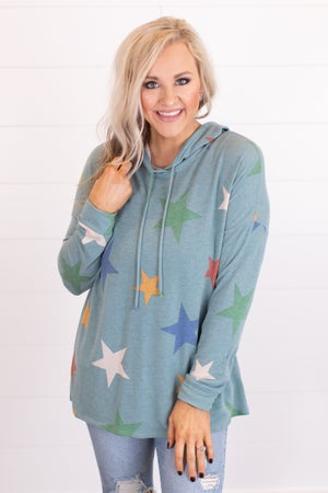 sku16700 | Star Print Hooded Tunic