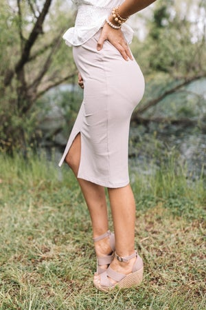 sku20902   Ribbed Knit Front Slit Midi Skirt