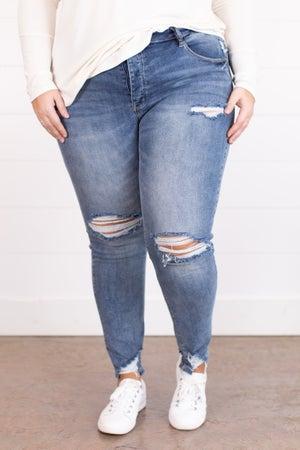 sku17484 | Mid Rise Distressed Skinny Jean