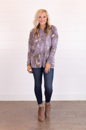 sku16338   Tie Dyed Shawl Collared Top