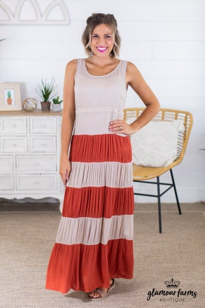 sku14596 | Tiered Color Block Maxi Dress
