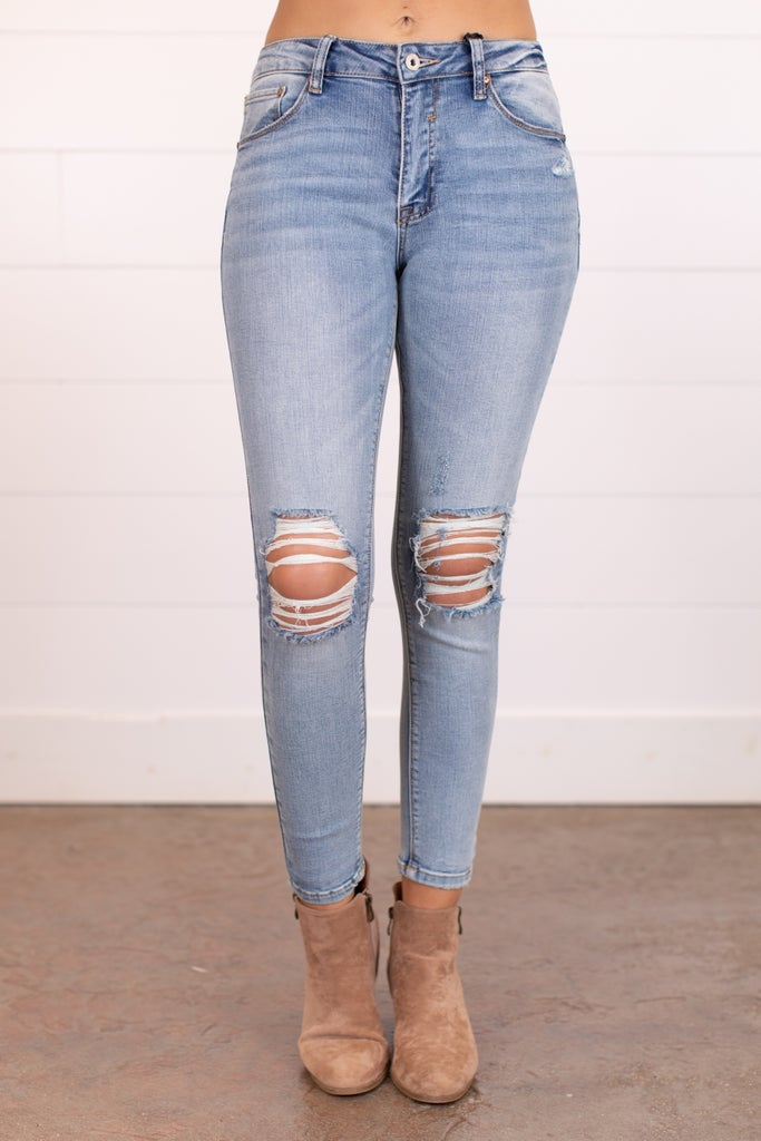 sku17490 | Mid Rise Distressed Skinny Jean