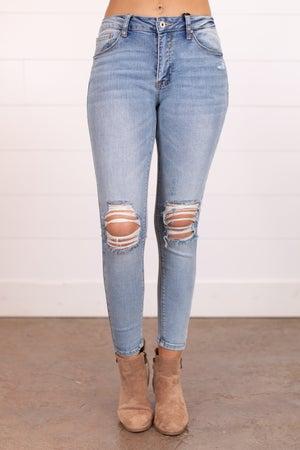 sku17490 | Mid Rise Distressed Skinny Jean