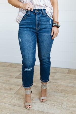 sku20414 | Nature Denim Distressed  High Rise Mom Jeans