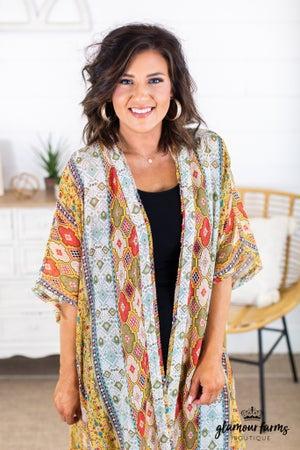sku14918 | Mixed Print Boho Kimono