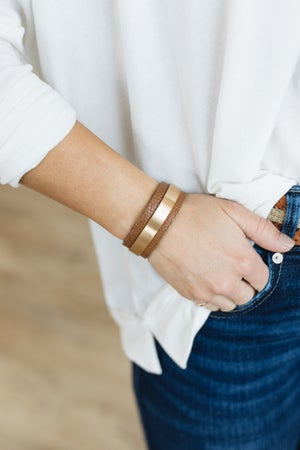 sku20784   Faux Leather And Metal Cuff Bracelet