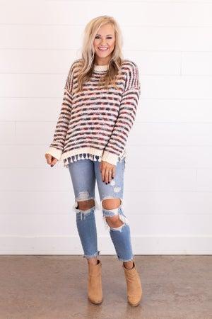 sku16048   Striped Knit Tassel Sweater