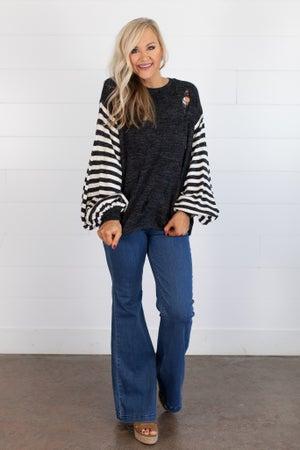 sku14316 | Distressed Striped Sleeve Sweater