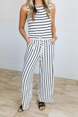 sku19520 | Striped Drawstring Jumpsuit