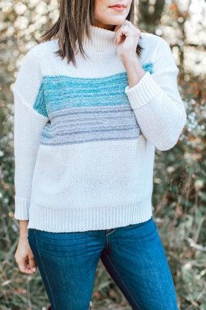 sku16528 | Color Block Turtleneck Sweater