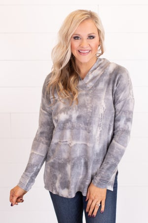 sku16339 | Tie Dyed Shawl Collared Top