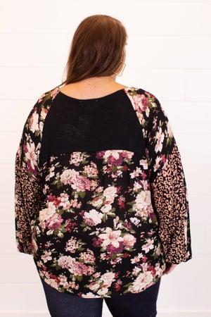 sku16582   Floral Sleeve Top